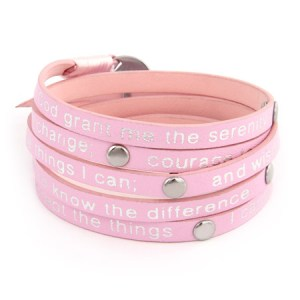 pink leather serenity prayer wrap around bracelet
