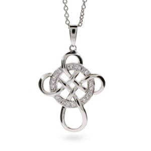 infinity cross cetic sterling silver cz pendant