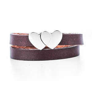 Engravable Hearts Leather Wrap Bracelet for nieces and aunts at eves addiction
