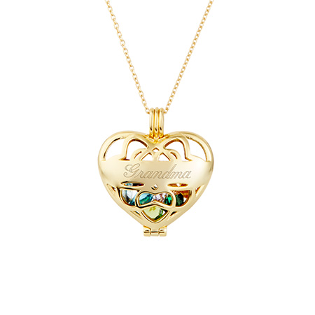 gold custom birthstone heart designed necklace for grandma on mothers day eves addiction