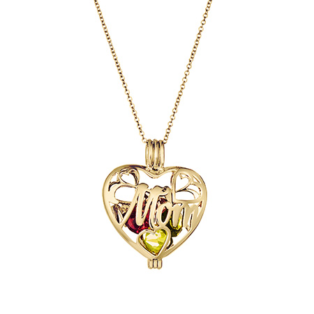 mom design heart shaped birthstone necklace for mom engraved