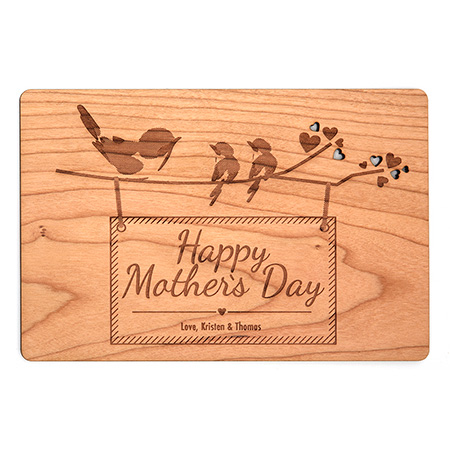birds on branch mothers day gift post card personalized gift ideas wood type theme card