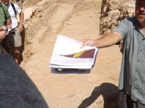 "Excavation report showing ""fallen red brick."""