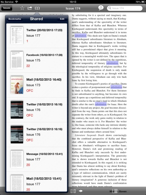 Bookmarks keep a record of sharing
