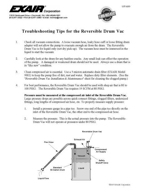lit6203-Reversible Drum Vac Troubleshooting