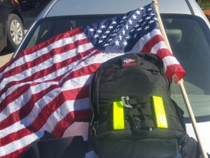My Ruck sack w/ 20 lb. weight and a flag for the team to carry.