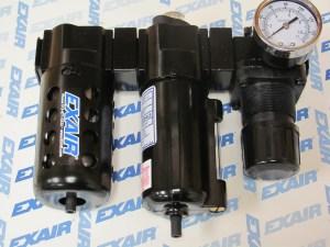 EXAIR Model 9027 Oil Removal Filter, installed between Model 9004 Filter Separator and 9008 Pressure Regulator, using our Modular Coupling Kits