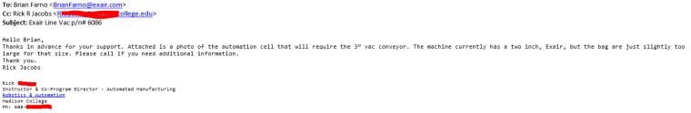 The Initial e mail received.