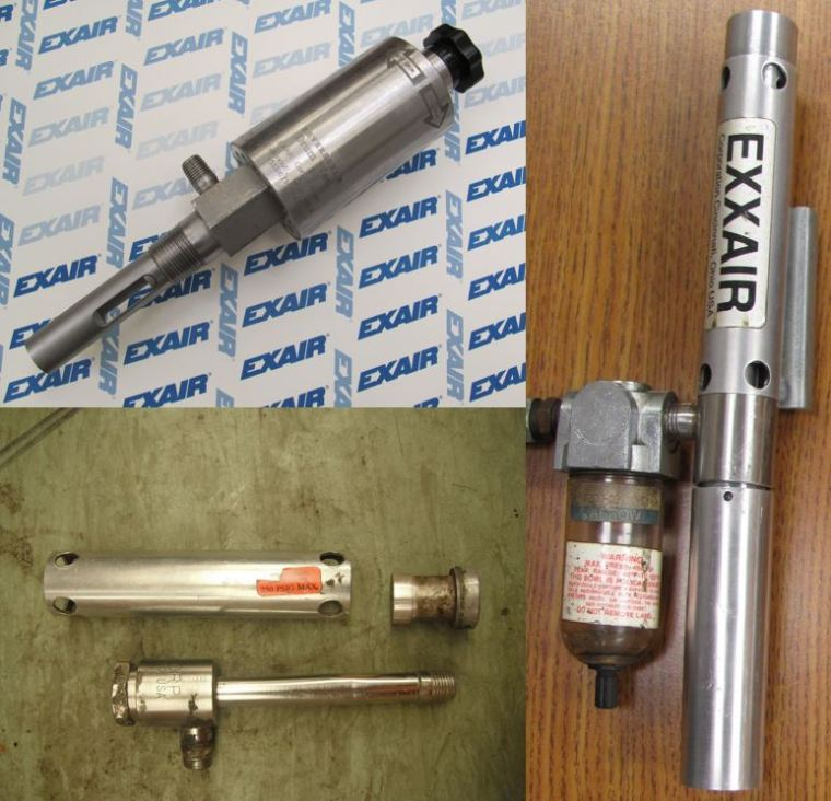 Product & year of manufacture, from top left: Reversible Drum Vac (1999,) Cold Gun (1985,) Vortex Tube (1987.) All still performing within factory specifications.