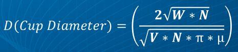 Cup Diameter Formula