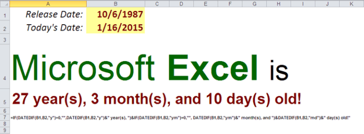 Excel's DateDif function - Calculate Your Age