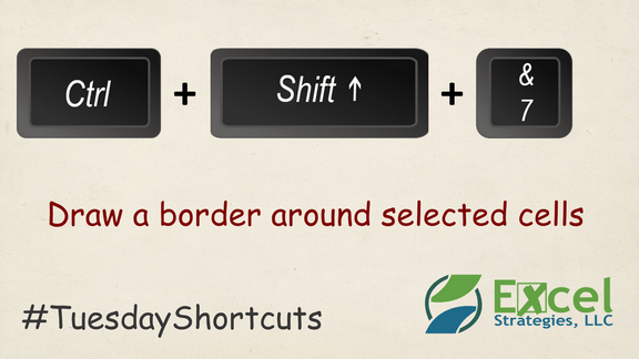 CTRL + SHIFT + 7 - Draw a border around selected cells.