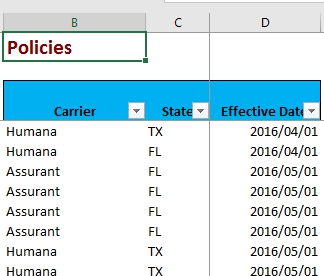 Data Tables for the Excel Job Test - Policies tab.