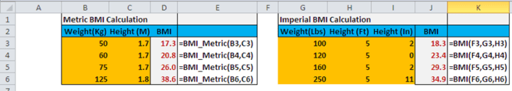 Excel UDF, custom function for BMI calculations