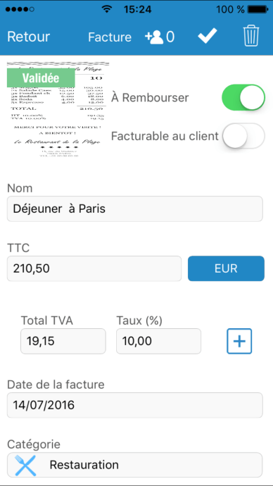 Facture Expensya sur Iphone