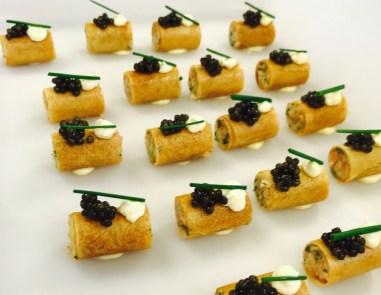 Amuse-bouches au caviar réalisés par Gwendoline pour la Fashion Week