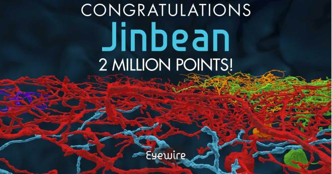 jinbean 2 million points congrats eyewire