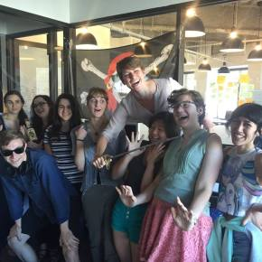 Celebrating a pirate-themed competition with the summer '16 Eyewire interns.