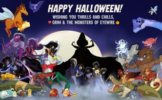 halloween, eyewire, monsters, citizen science, games, neurowscience, grim reaper, werewolf, all the monsters, ghost, gollum, pancakes, waffles, santa, robot, evil robot, DJ, party, heroes of neuroscience, heroes