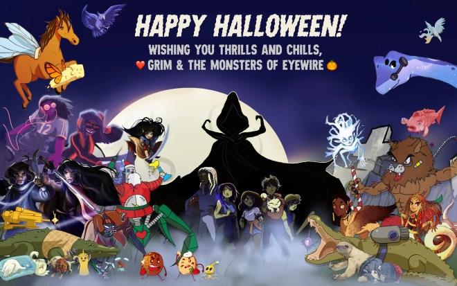 halloween, eyewire, monsters, citizen science, games, neurowscience, grim reaper, werewolf, all the monsters, ghost, gollum, pancakes, waffles, santa, robot, evil robot, DJ, party, heroes of neuroscience, heroes