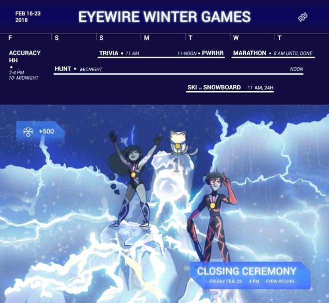 closing ceremony, winter games, winter olympics, nurro, rika, syke, heroes of neuroscience, competition, citizen science, science games, olympian, winner's podium, closing ceremony, competition