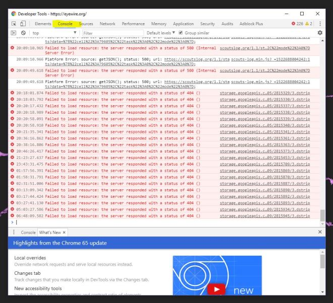console log, errors