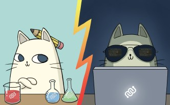 biology, computer science, vs, bio, comp sci, nurro, comic, cute cat, fat cat, cool cat, hacker, eyewire, citizen sciene, sciart, science, eyewire art
