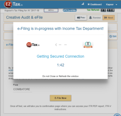 efile fast and secure with EZTax.in