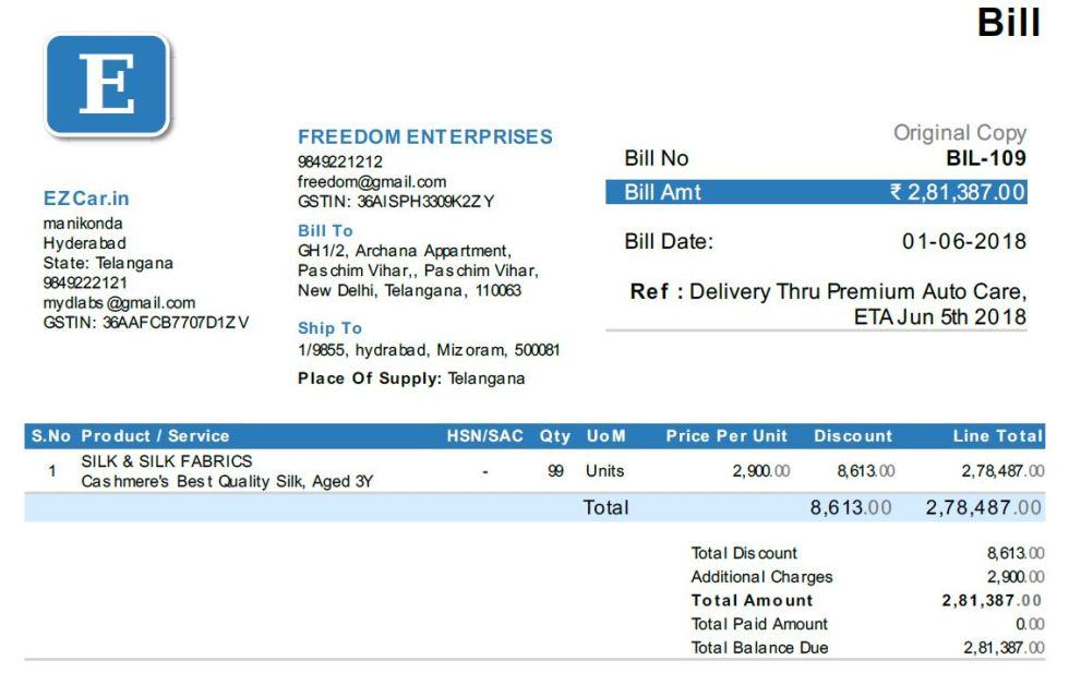 Bill of supply from EZTax.in