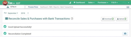 Bank Statement Reconciliation Menu using GST Accounting from EZTax.in
