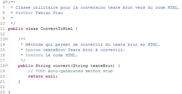 Le code pour que le test compile