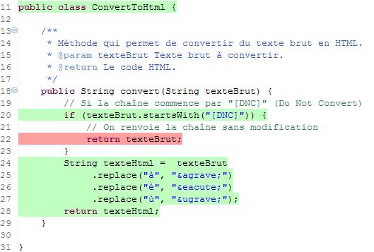 Le code n'est plus entièrement couvert