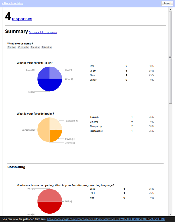 how to send google form survey results to other people