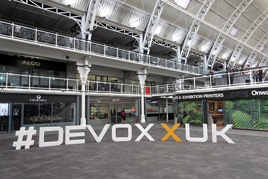 #DevoxxUK letters in the hall