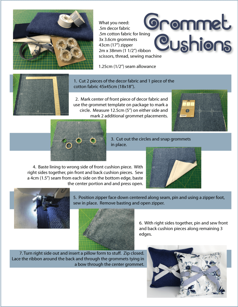 Grommet cushion instructions
