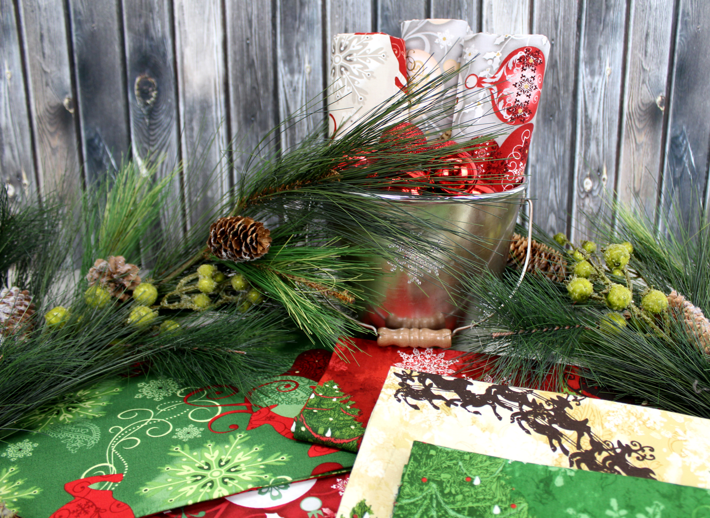 photo of the Deck the Halls Christmas cotton collection