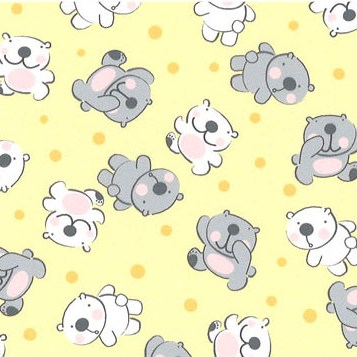 grey & white bears on yellow background