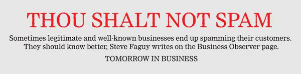 Thou Shalt Not Spam: Tomorrow in Business Observer