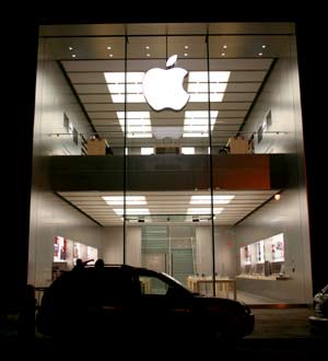 Apple Store at night