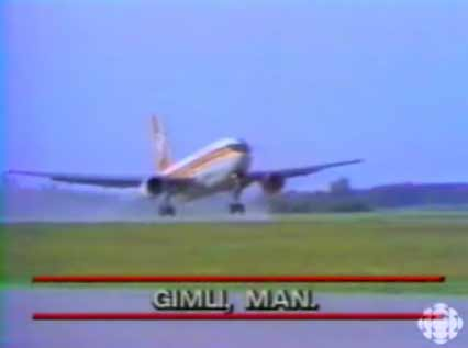 Air Canada plane takes off after repairs (still from CBC TV report)