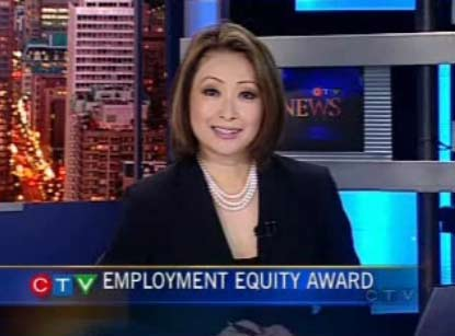Mutsumi Takahashi is really happy about CTV Montreal's employment equity award