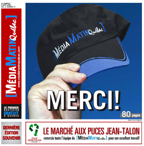 MédiaMatinQuébec's final issue: August 8, 2008