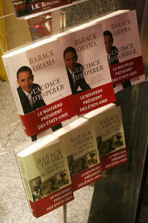 Translated copies of Barack Obamas two books - Dreams of My Father and The Audacity of Hope - are on sale