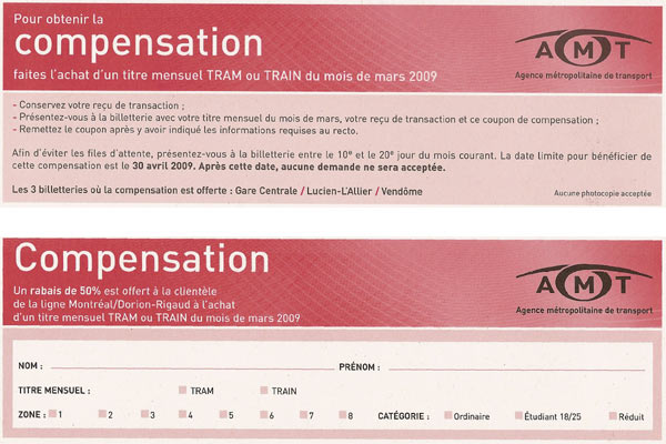 AMT Dorion/Rigaud coupon front and back