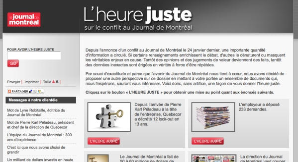 Quebecor's myth-fighting www.lheurejuste.ca