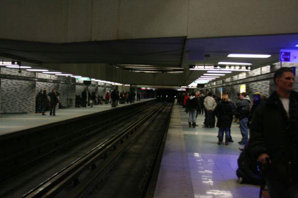 Place des Arts station at 3:17am