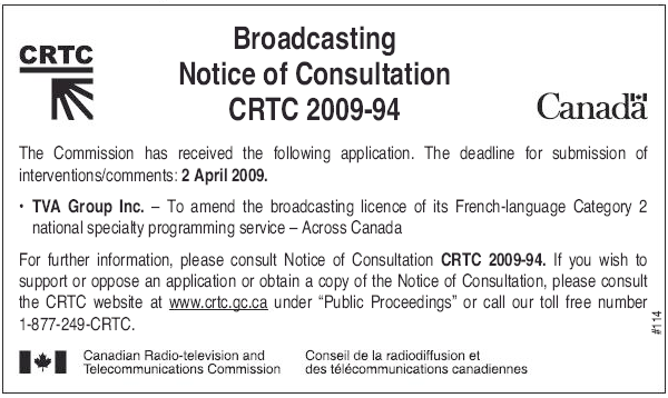 CRTC notice of consultation (March 30)
