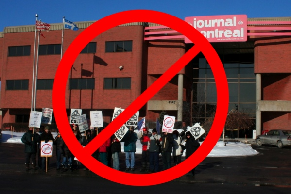 Locked-out workers will no longer be allowed to picket the entrance to the Journal de Montréal office