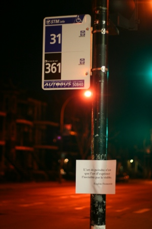 Quote and bus stop sign