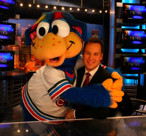 The CTV mascot shows Todd the love